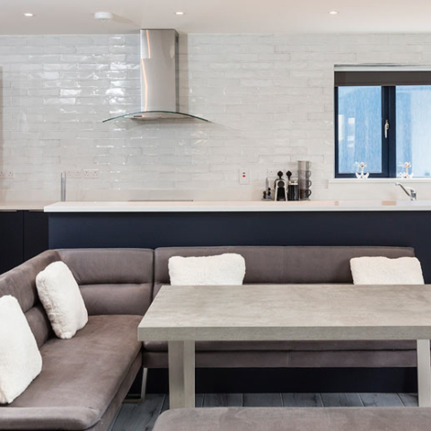 Featherbed House kitchen and lounge